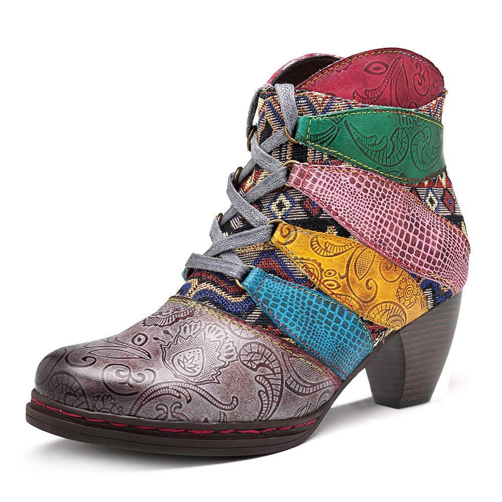 LEFT&RIGHT Frauen-Winter-Warme Knöchel-Lederstiefel, Handgemachte Splicing-Schuh-Stiefel-Spitze-Oben Block-Ferse-Rückseitige Reißverschluss-Stiefelies Ethnische Retro- Stiefel