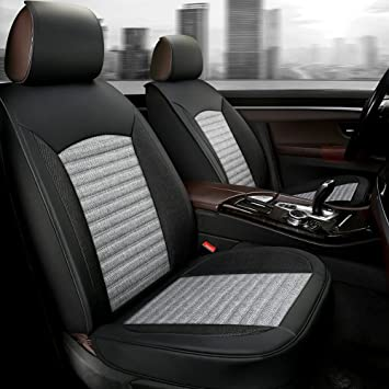 GIANT PANDA Grey Front Seat Covers for Most Cars SUV Pick-up and Mini Van, Soft Breathable Faux Leather and Linen Fabric Seat Covers, Universal Fit