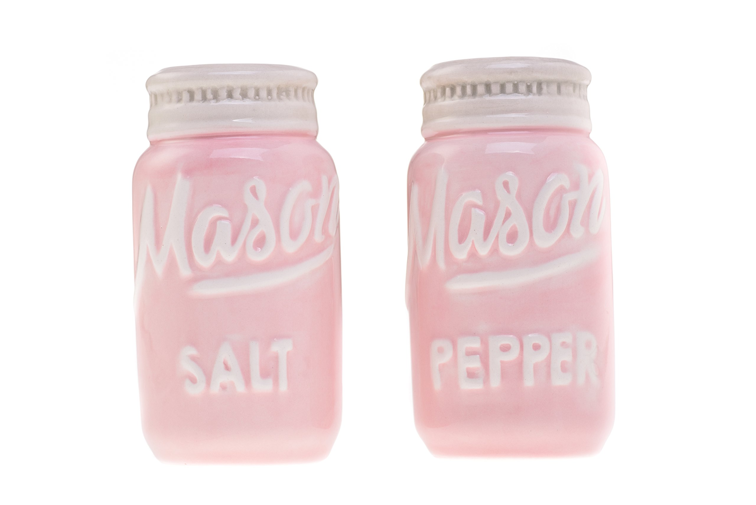 Pink Mason Jars Salt & Pepper Shakers - Kitchen Ceramic Shakers   Retro & Farmhouse Decor   Dishwasher & Microwave Safe   Set of 2   Baking Supplies  Rustic Home Accessory & Gifts by Goodscious