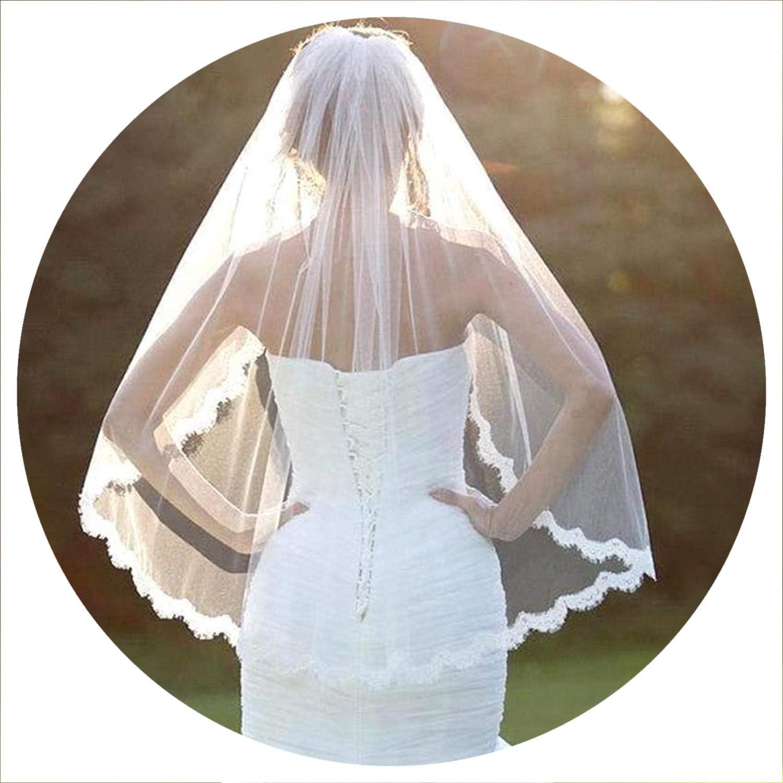 Comb 1 Layer White Elbow Length Lace Edge Bride Wedding Bridal Veil