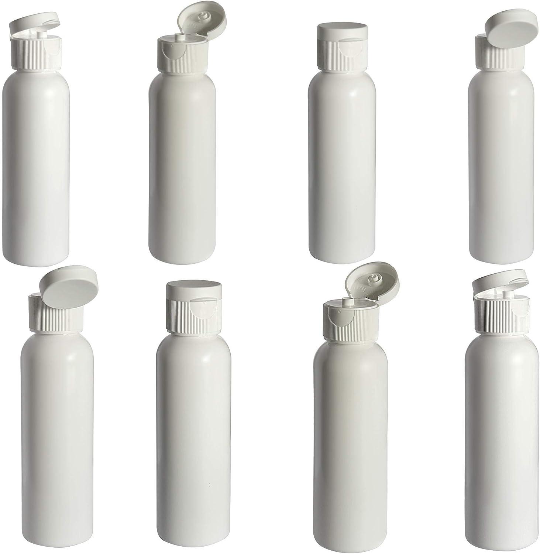 Oregon Apothecary Eight Empty Refillable 2 oz Bottles with flip-top Dispensing lids | BPA-Free | Travel Size | Food Grade | Oregon