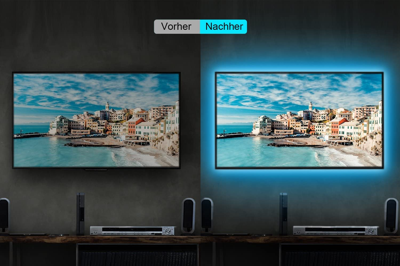 LED Iluminación, Maylit USB 2M / 6.56ft LED Tiras RGB Luz Trasera para 40 a 60 IN HDTV luz de neón luz de polarización con Remoto IR de 24 Teclas, LED tiras