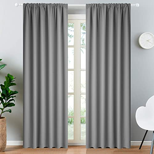 Yakamok Rod Pocket Room Darkening Thermal Insulated Blackout Curtains Window Panels for Bedroom Width 52 Inch by Length 84 Inch,Grey, Two Curtain Panels