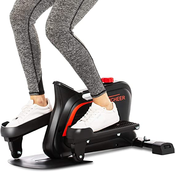 ANCHEER Desk Elliptical Machine, Compact Elliptical Under Desk Bike Trainer with Built-in Display Monitor & Unlimited Resistance & Smooth Quiet Belt Drive, Mini Strider for Home Office Use (Go...