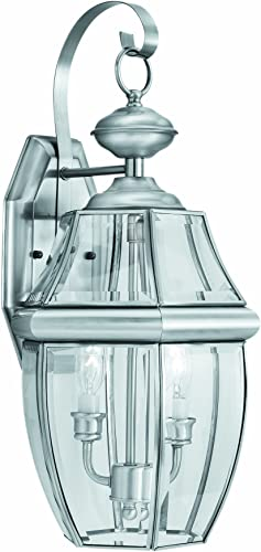 Thomas Lighting Sl9425-78 Heritage Two-Light Traditionally Styled Outdoor Wall Lantern, Brushed Nickel