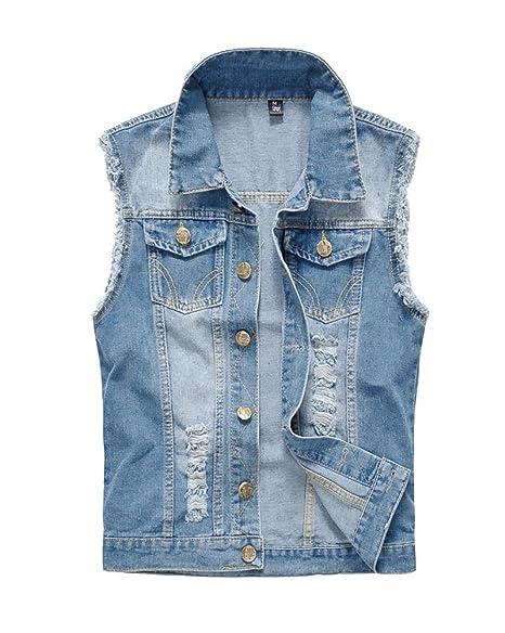 da31716b91 LaoZan Panciotto Jeans Uomo Gilet Denim Giacca Senza Maniche Cappotto Jeans  Vintage Azzurro Chiaro 5XL
