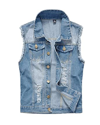 Men s Retro Vintage Motorcycle Denim Sleeveless Lapel Jeans Jacket Vest  Waistcoat Gilets Light Blue 5XL 4a199bec21