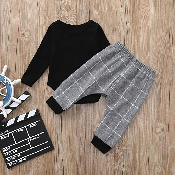 82545e49dec9 Amazon.com  2Pcs Baby Boy Girl Long Sleeve Plaid Tops Romper Pocket ...