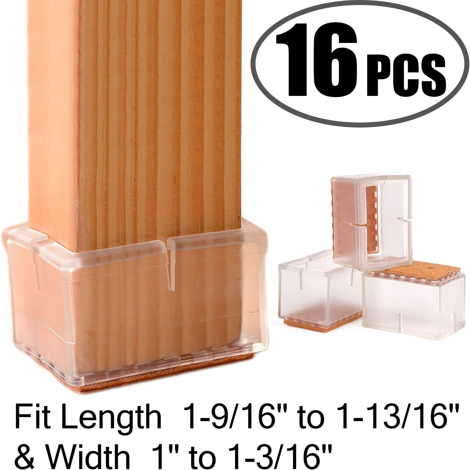 """Chair Leg Floor Protectors Rectangular Fit Length 1-9/16"""" to 1-13/16"""" & Width 1"""" to 1-3/16"""" Large Chair Leg Caps Silicone Table Chair Feet Protectors with Felt Pads (16Pack)"""