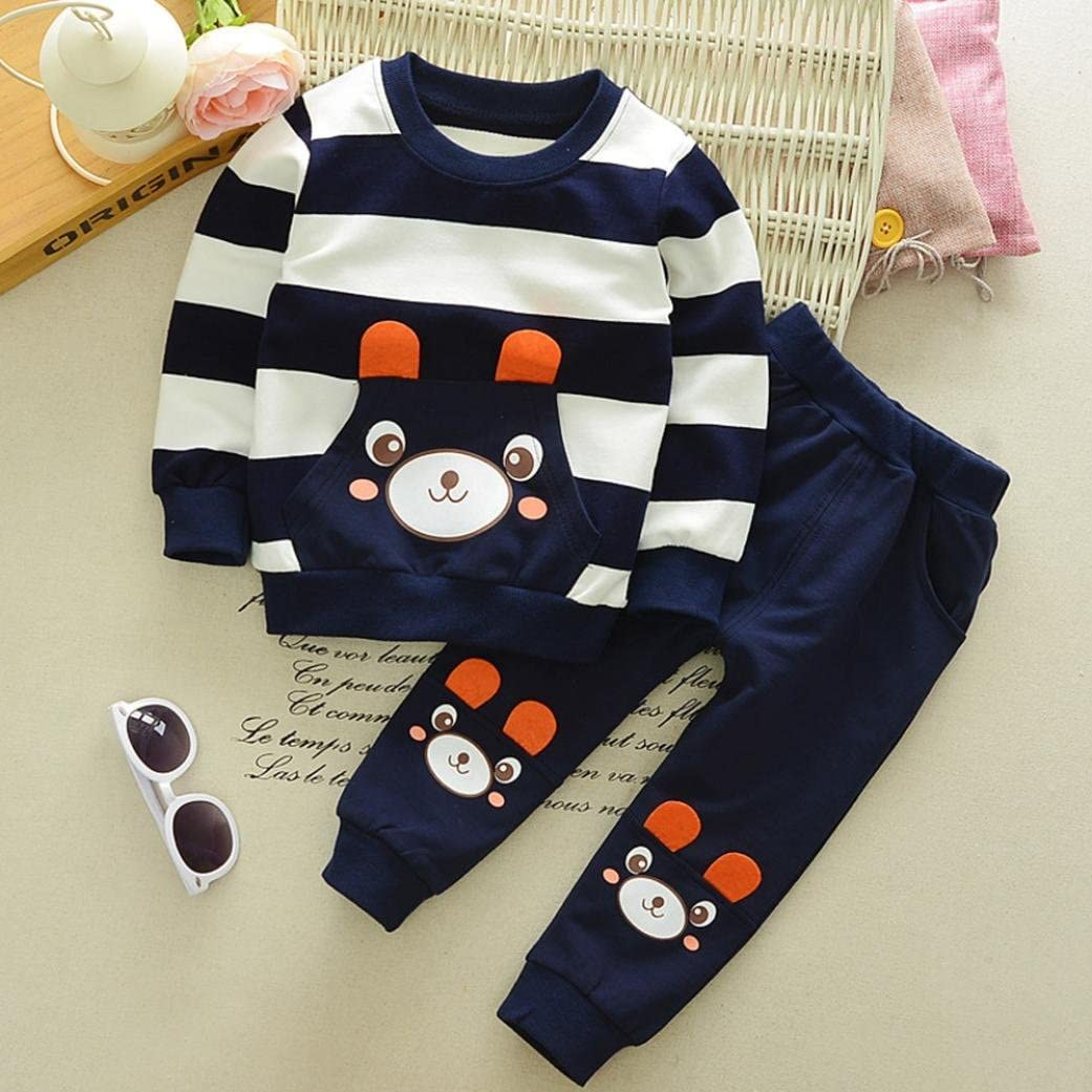 Jchen TM Autumn Winter Kids Baby Girls Boys Clothes Set Striped Bear Tops+Pants Outfits For 2-5 T