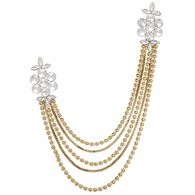 c719a4aeba9 Image Unavailable. Image not available for. Colour: The Luxor Designer  Floral Alloy Saree Brooch ...