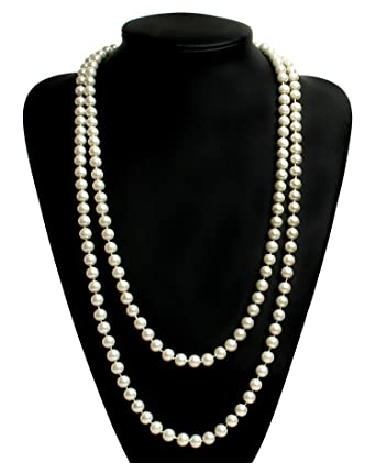 Babeyond® ART DECO Fashion Faux Pearls Flapper Beads Cluster Long Pearl Necklace 55 IGVEY