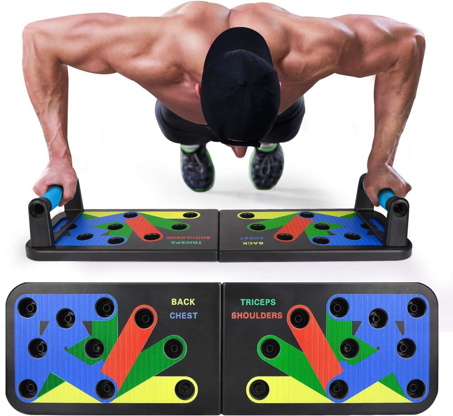 Portable Fitness Entra/înement de Force Outil auxiliaire pour entra/înement /à Domicile et Fitness Noir, 12-in-1 EKOOS Push Up Musculation Push Up Board avec Poign/ée