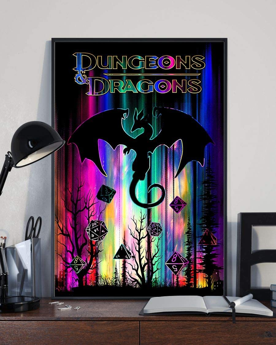 Dungeons Dragons - Motivational Poster - Wall Art & Wall Decor & Painting for College Dorm – Office Decor - Makeup Room Decor - Dorm Room Poster