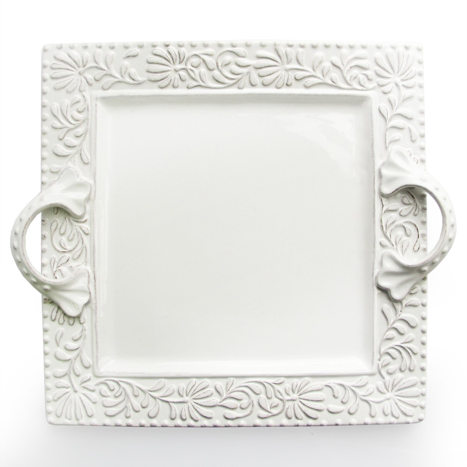 Christmas Tablescape Décor - White square earthenware Bianca Leaf embossed handled platter by American Atelier