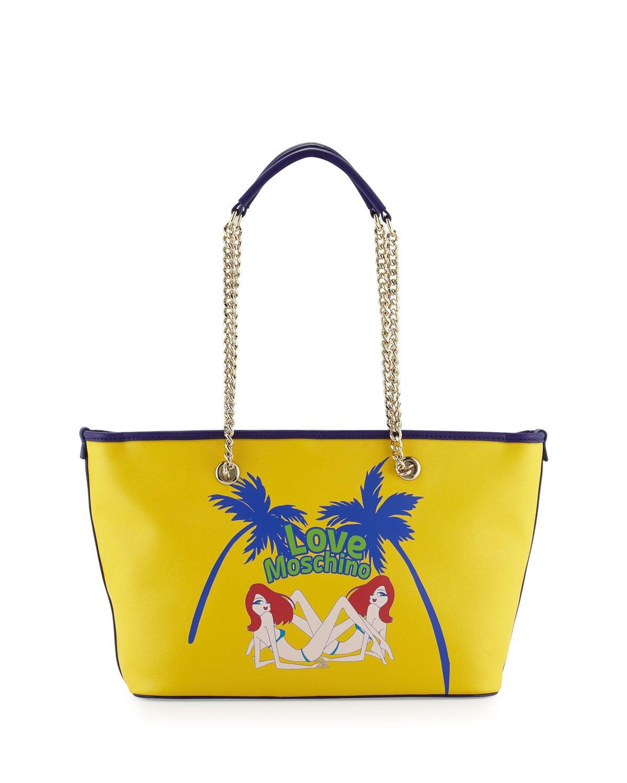 Love Moschino Aloha Diver Dames Printed Saffiano PVC Tote, Yellow Multi