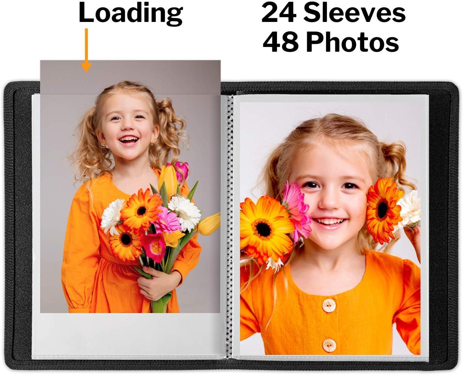 Dunwell 5x7 Portfolio Folder for Artwork - Black, 2 Pack Art Folio Sketches Drawings 24 Pockets Display 48 Photos Scrapbook 5x7 Photo Album Small Photo Album 5x7 Great for Picture Storage