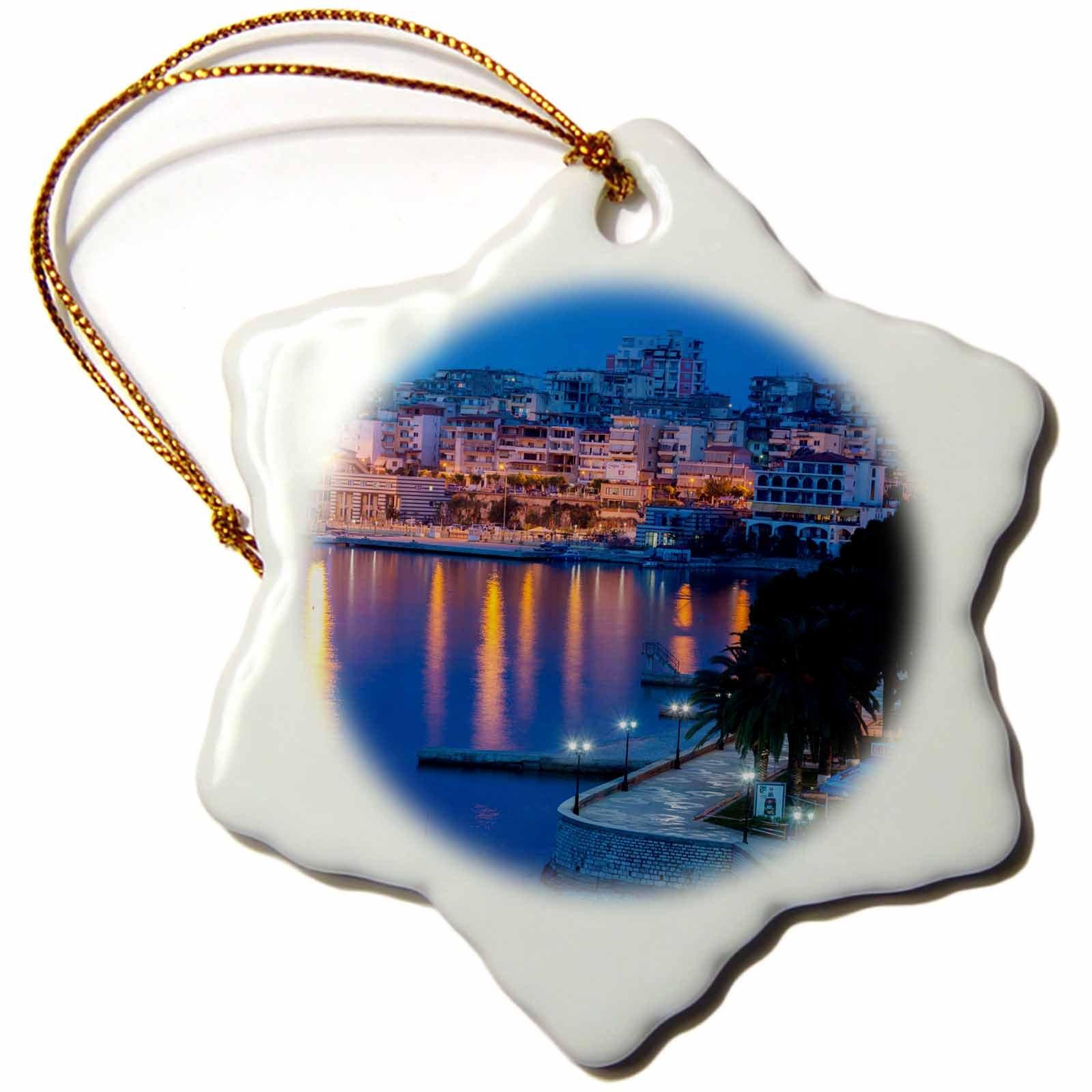 3dRose Albania, Albanian Riviera, Saranda, Hotels Along the Ionian Sea, Dawn Snowflake Ornament, 3''