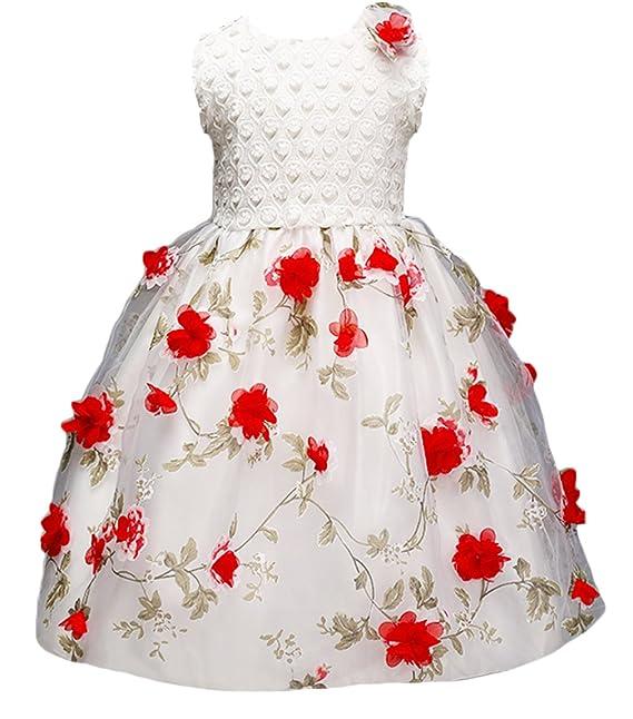 La Vogue Vestido de Fiesta Niña Gasa Flor Sin Manga para Boda Blanco Talla 110