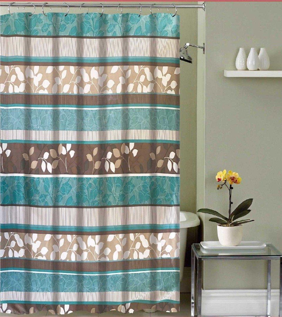 Amazon.com: Aqua Blue Fabric Shower Curtain: Primitive Striped ...