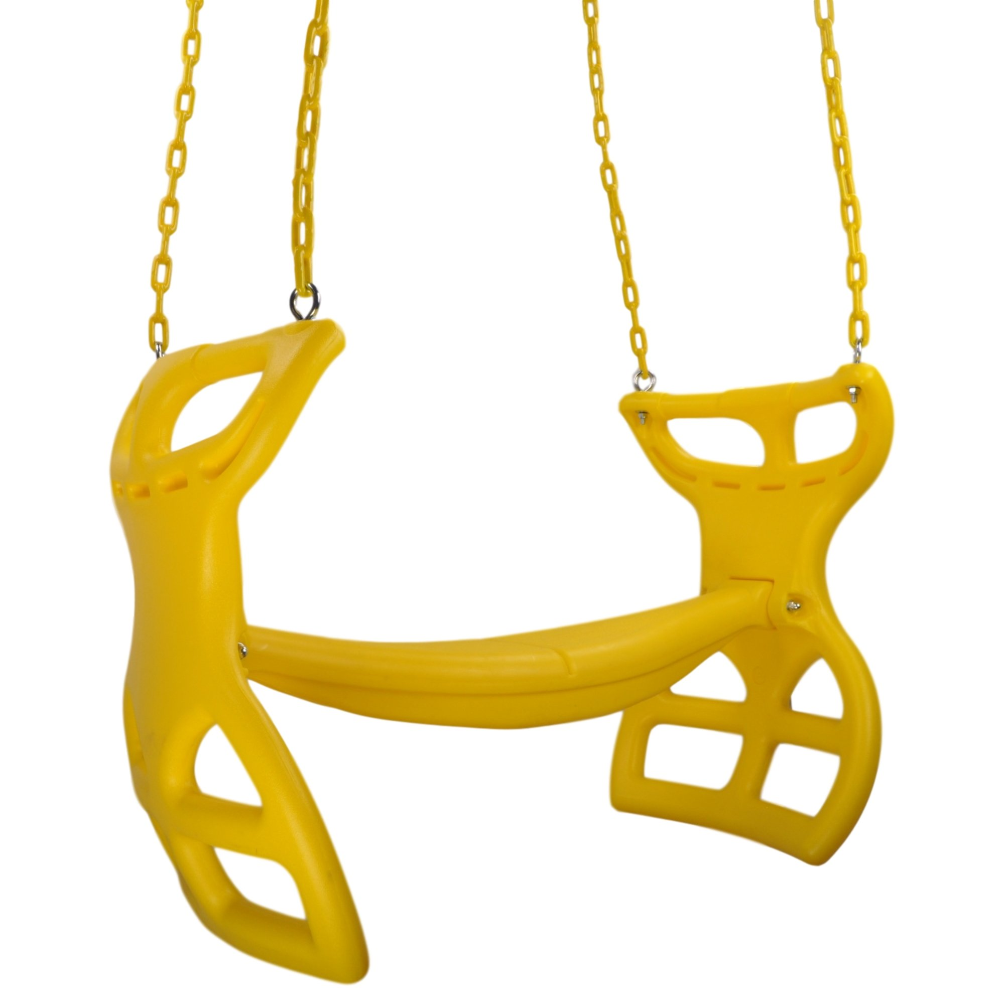 Swing Set Stuff Inc. Glider with Coated Chains & SSS Logo Sticker Playground Attachment, Yellow