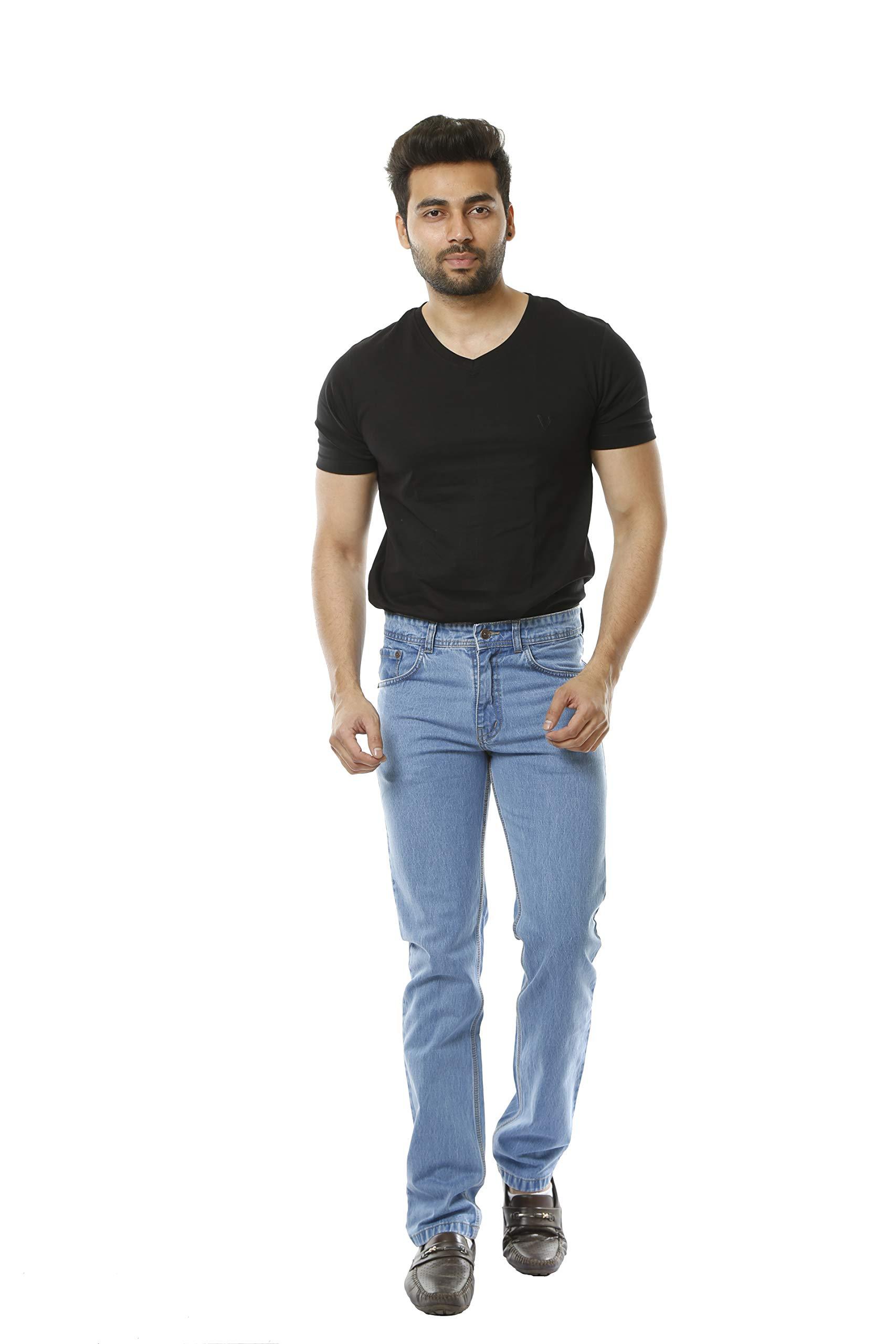 MARUTI STORE ONLINE Blue Jeans Denim for Men Comfortable Cotton Bottom Wear Straight Fit (Sky Blue, 30 x 43)