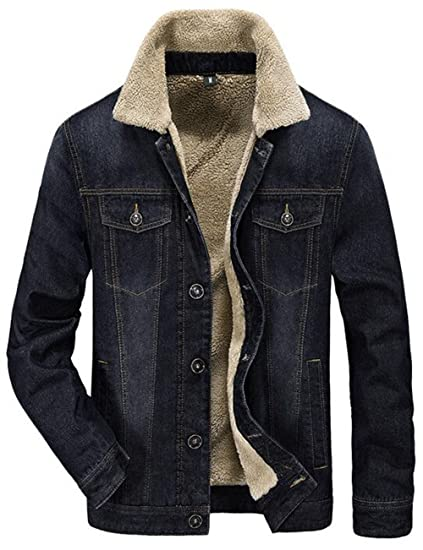 cda225100946 moxishop Men s Outdoor Warm Fur Collar Slim Fit Jean Jacket Denim Coat Faux  Fur Lined (