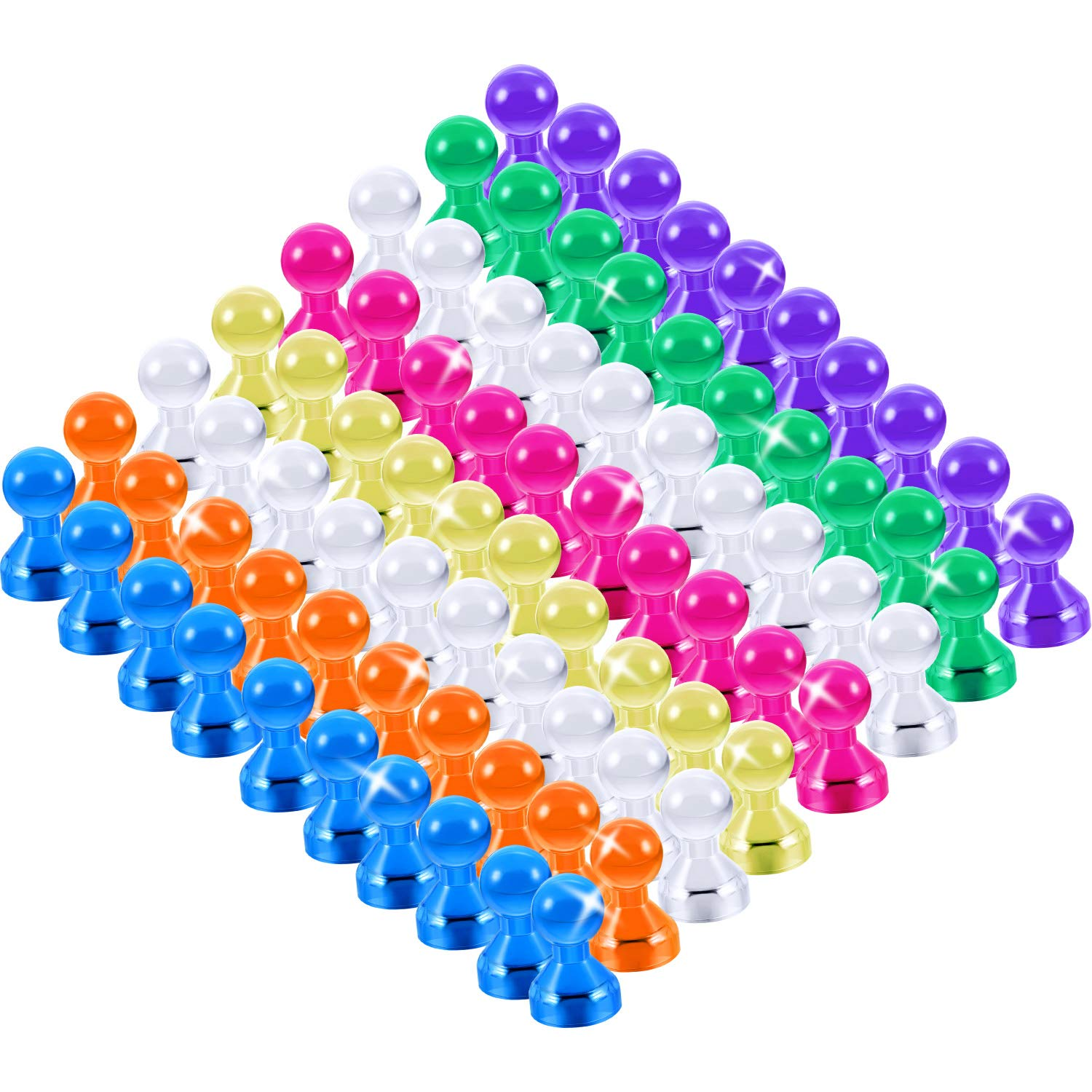 Zhehao 80 Pieces Colorful Magnetic Push Pins for Fridge Magnets Calendars Magnet Whiteboards Magnets Dry Erase Board Magnets Maps Magnet at Home School Classroom Office by Zhehao (Image #2)