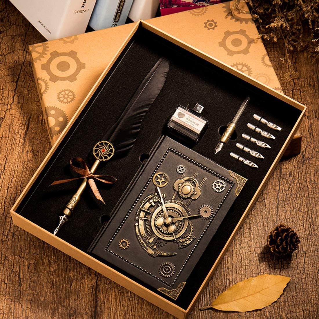 HENHEN Feather Quill Pen Set - 100% Hand Craft - Steampunk Quill Pen and Notebook Set, in Gift Box by HENHEN (Image #7)