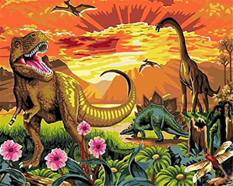 Dinosaurs Drawing with Brushes Christmas Decor Decorations Gifts DIY Oil Painting Paint by Number Kit for Kids Adults Beginner 16x20 inch Frame