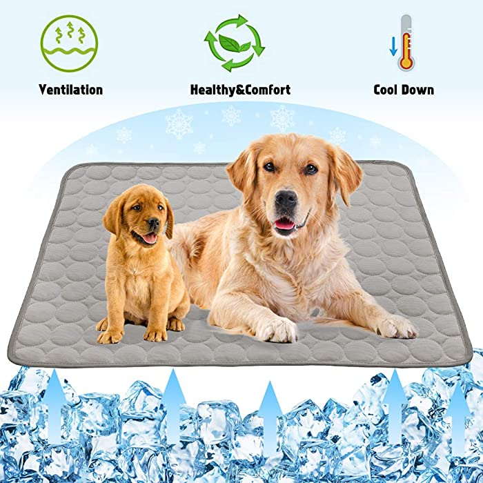 VeMee Summer Cooling Mat for Dogs Cats Self Dog Cooling Mat Breathable Pet Crate Pad Portable & Washable Pet Cooling Blanket for Small Medium and Large Pet Outdoor or Home Use