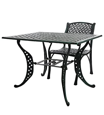 Karara Mujassme Victorian Style Antique Green Garden Outdoor Cast Aluminium Chair And Table