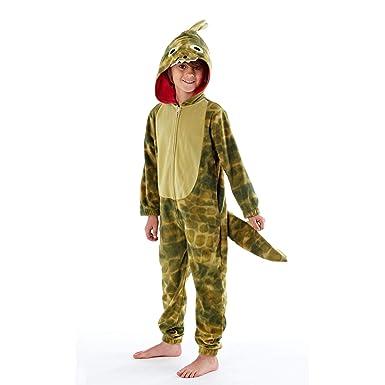 meilleur site web a4d4d 4edf3 ONE Enfants Dragon Queue Combinaison en Polaire Pyjamas Tout-en-Un Vert Âge  5-13 Ans