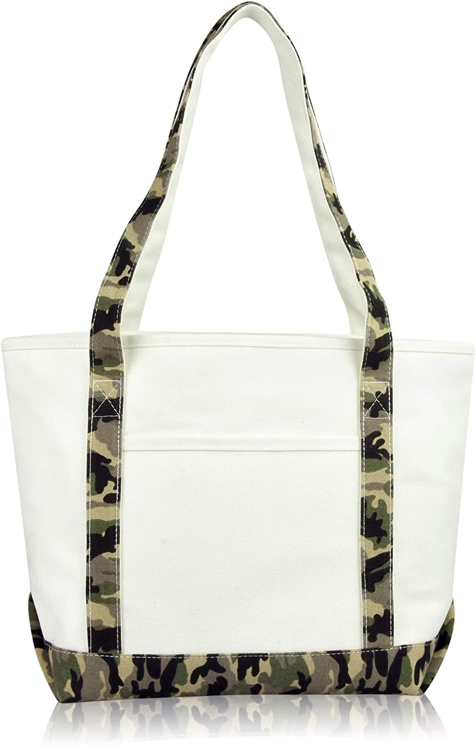 DALIX Daily Shoulder Tote Bag Premium Cotton in Green Camouflage