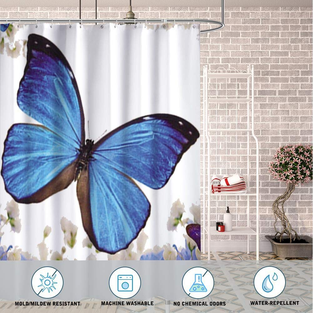 Masa FF Store Bathroom Decorative Polyester Fabric Waterproof Shower Curtain Blue Butterflies and Flowers Theme Design Fabric Bathroom Decor Set with Hooks 72inch80inch