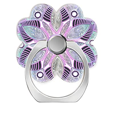 360 Degree Finger Stand Cell Phone Ring Holder Car Mount with Hook for Smartphone-Lavender Purple yin yang Lotus Flower Mandala [5Bkhe0108991]