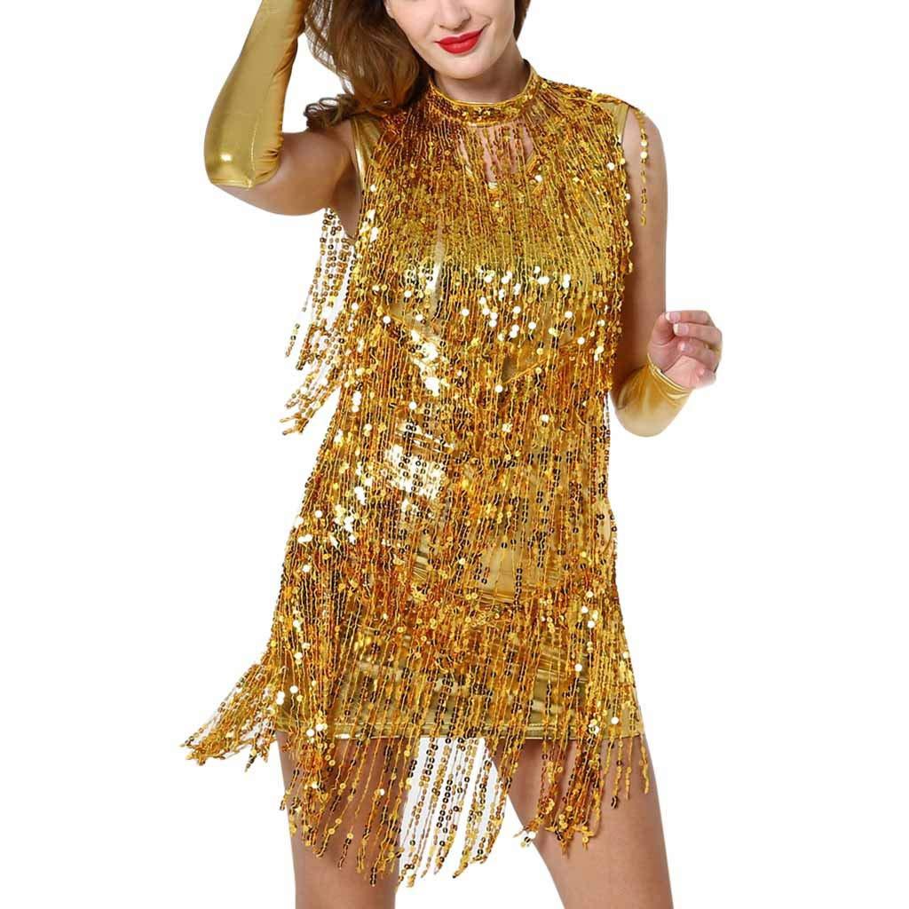 Kiminana Women's Hanging Neck Sequins Fringed Dance Skirt Latin Dance Costume Gold by Kiminana