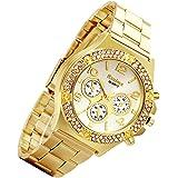 Men's Gold Watch Bling Rhinestone Bezel [Upgraded] Japan Quartz Movement 30M Waterproof Dress Casual Hip Hop Wrist Watch…