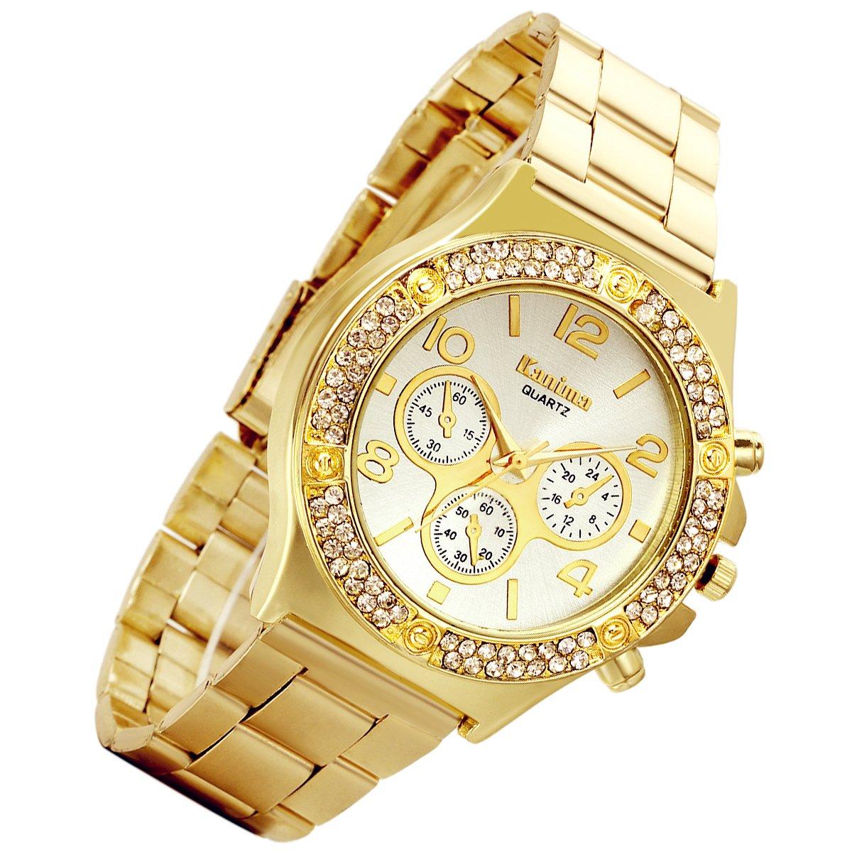 Men's Luxury Bling Double Dual Rhinestone Bezel Japan Quartz 30M Waterproof Gold Tone Bracelet Cuff Bangle Dress Unisex Watch (Gold) by Lancardo (Image #1)