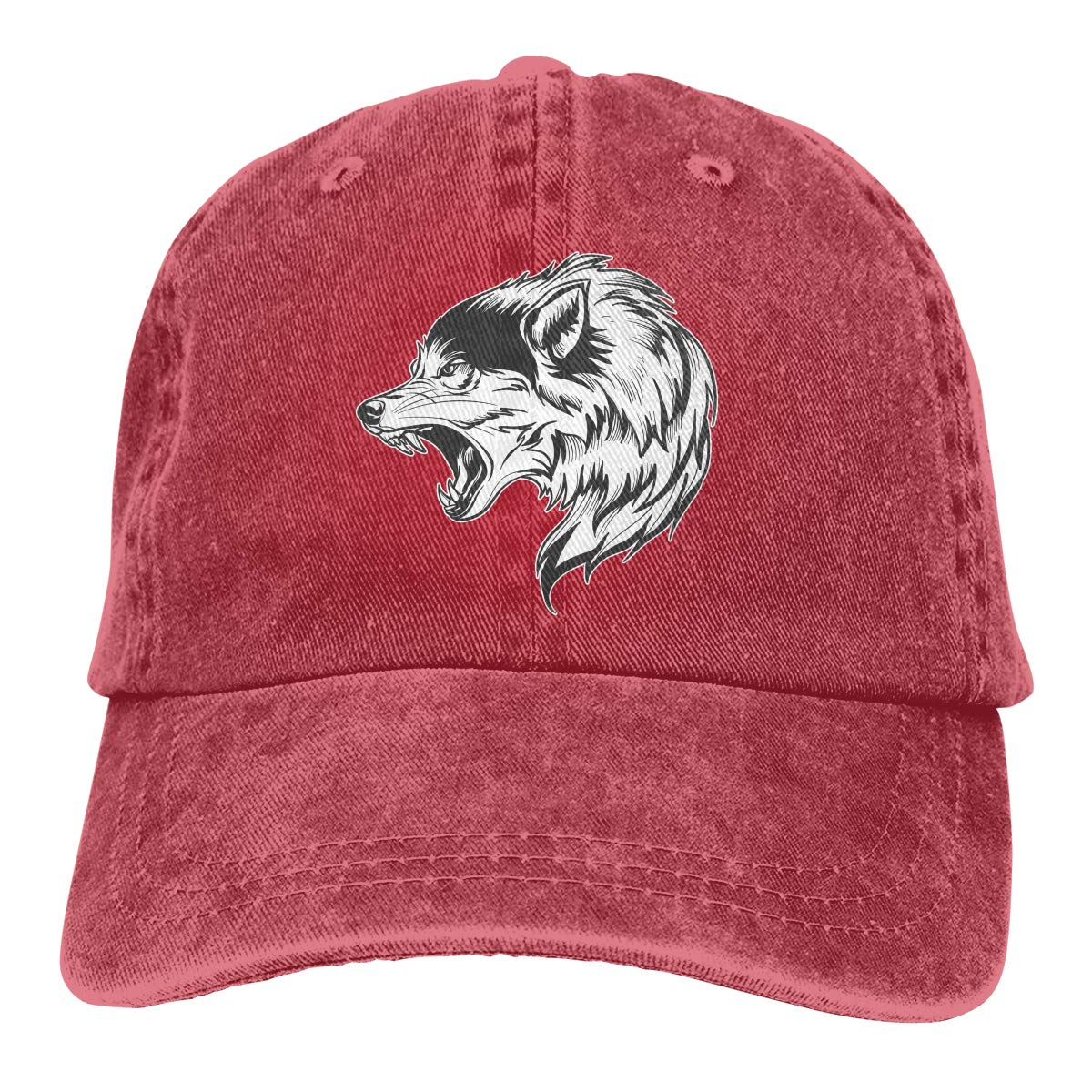 a99960970d6 Wolf Head Unisex Vintage Washed Cap Fashion Adjustable Dad Hats at Amazon  Men s Clothing store