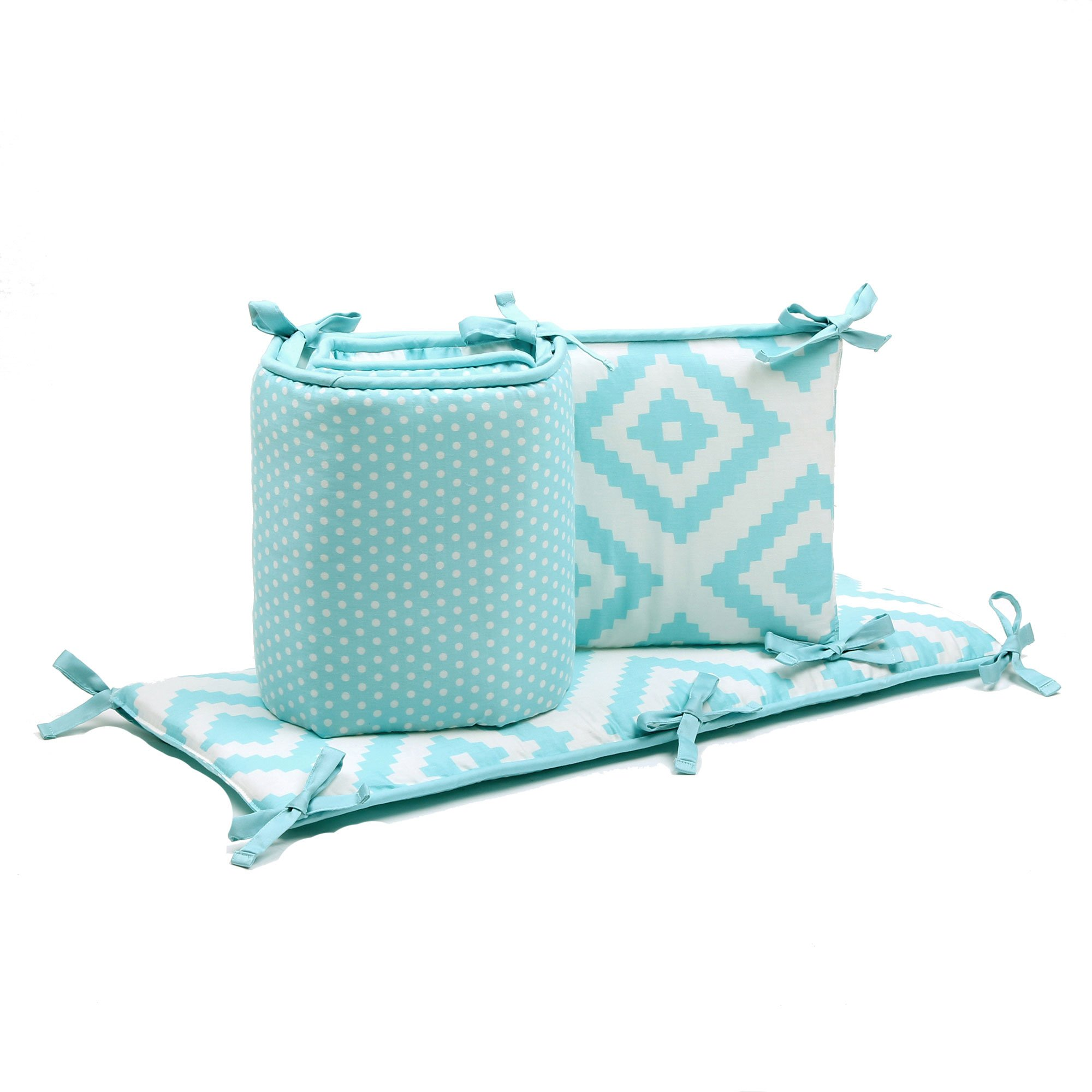 Teal Polka Dot and Tile Reversible Baby Crib Bumper by The Peanut Shell