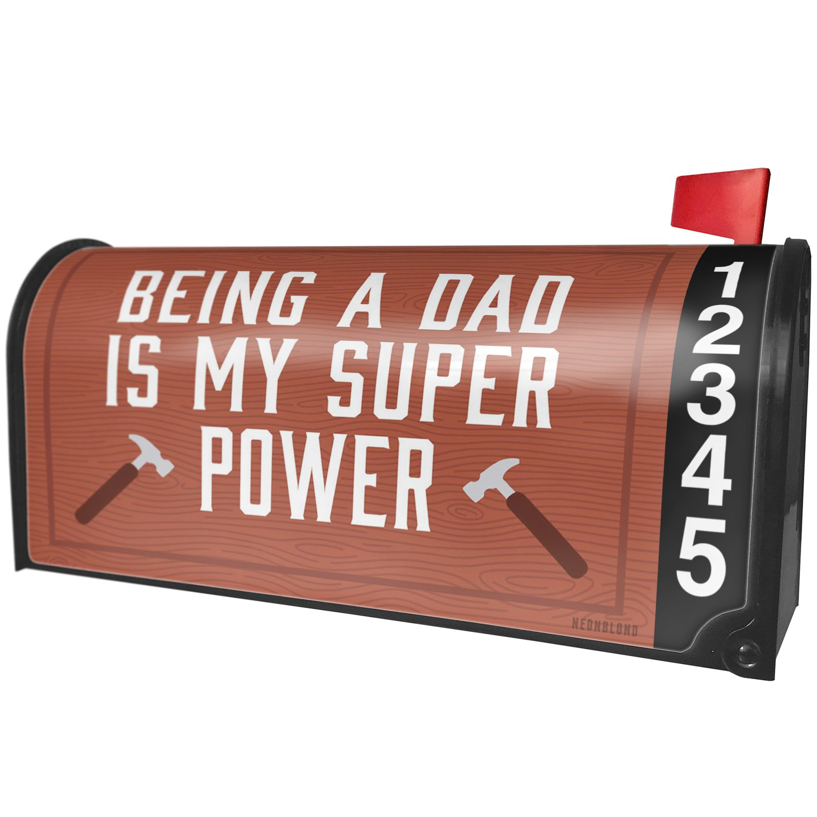NEONBLOND Being a Dad is My Super Power Father's Day Handyman Hammer Magnetic Mailbox Cover Custom Numbers