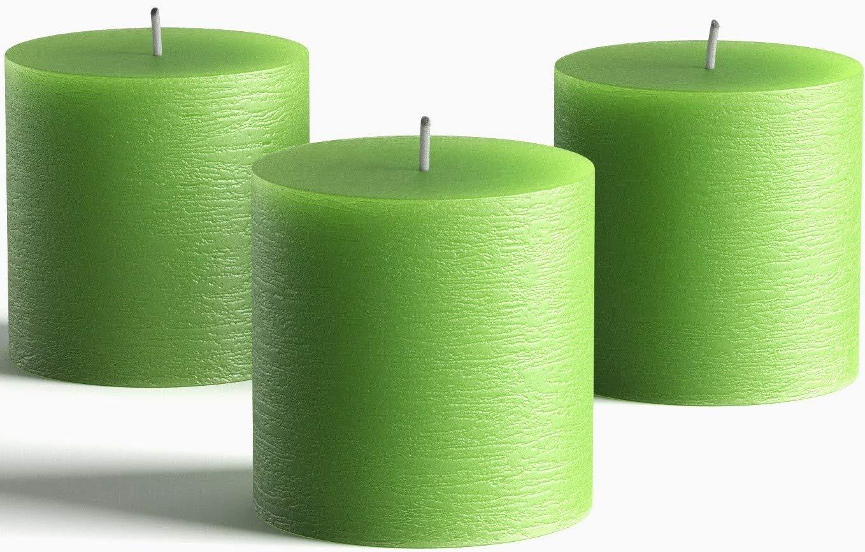 "Set of 3 Green Pillar Candles 3"" x 3"" Unscented Handpoured Weddings, Home Decoration, Restaurants, Spa, Church Smokeless Cotton Wick"