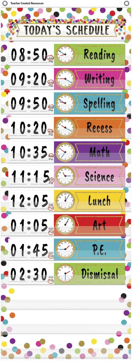 """Teacher Created Resources Confetti 14 Pocket Daily Schedule Pocket Chart (13"""" x 34"""")"""