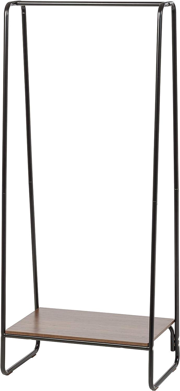 IRIS Metal Garment Rack with Wood Shelf, Black and Dark Brown