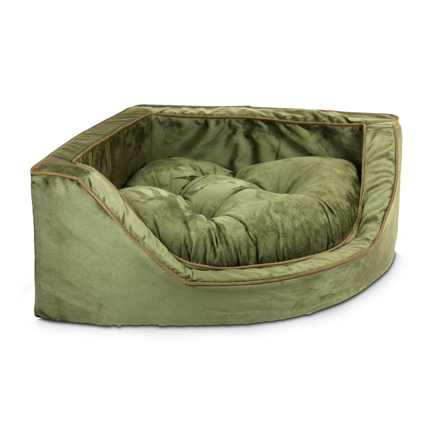 Large Snoozer 25081 Large Luxury Corner Pet Bed, Olive Coffee