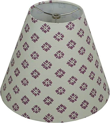 FenchelShades.com Lampshade 6 Top Diameter x 13 Bottom Diameter x 11 Slant Height with Washer Spider Attachment for Lamps with a Harp Cream with Plum Floral Design