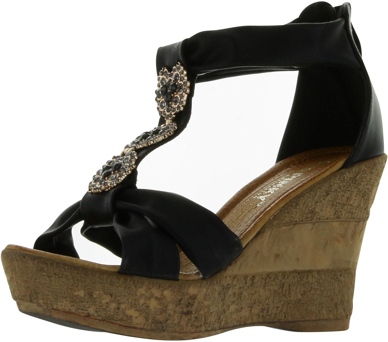 Pinky Women's Vivi-18 Fashion Wedge Sandals B00C43XOFO 6 B(M) US|Black