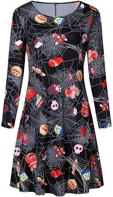 NPRADLA Halloween sukienka dla kobiet casual z długim rękawem dynia z nadrukiem zwierzęcym sukienka casual dziewczynki wieczÓr impreza swing sukienka: Odzież