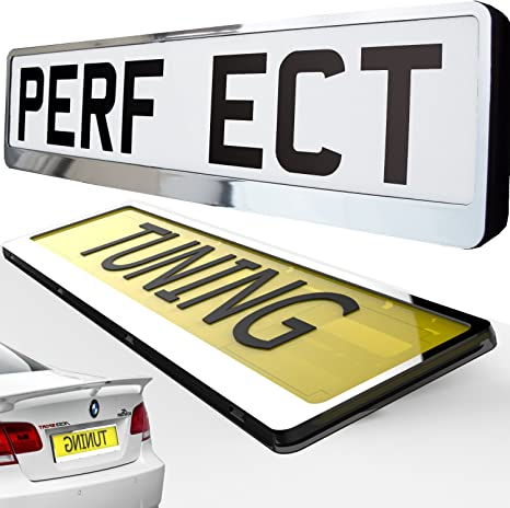 VAN 2 x CHROME EFFECT NUMBER PLATE HOLDER SURROUND CAR THE BEST GOOD FOR CAR